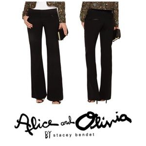 Alice + Olivia Faux Leather Trim Wide Leg Trousers